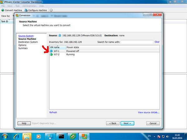 перенести windows на виртуальную машину с помощью VMware Converter