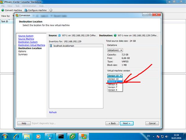 понизить версию виртуального аппаратного обеспечения Wmware
