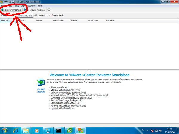Конвертирование виртуальной машины через VMware vCenter Converter
