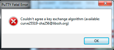 couldn't agree a key exchange algorithm available curve25519-sha256@libssh.org