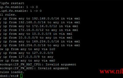 getsockopt(IP_FW_ADD): Invalid argument