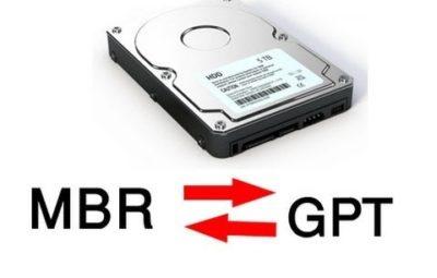 преобразовать диск GPT в MBR