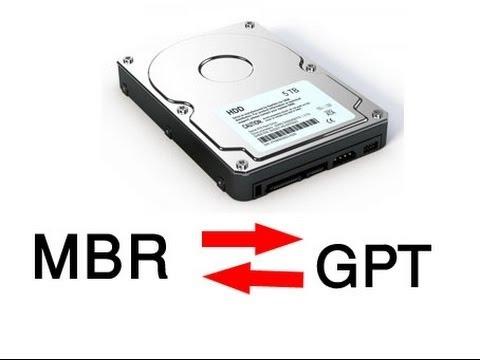 Как преобразовать диск GPT в MBR через командную строку