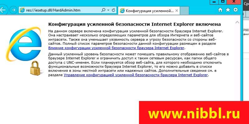 Конфигурация усиленной безопасности Internet Explorer включена