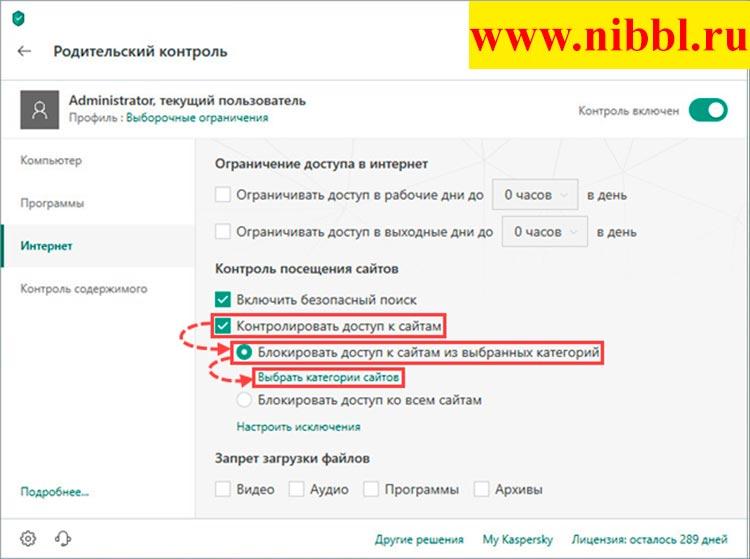 блокировать сайты через антивирус