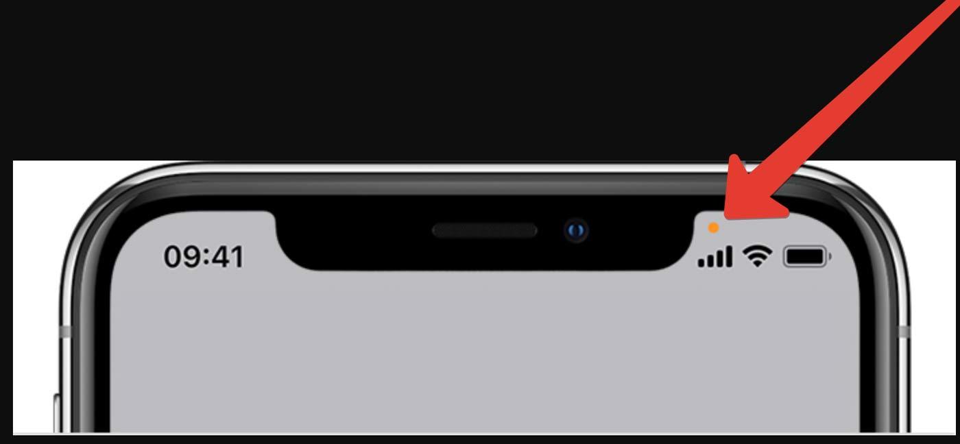Оранжевая точка на iPhone c iOS14 что это?