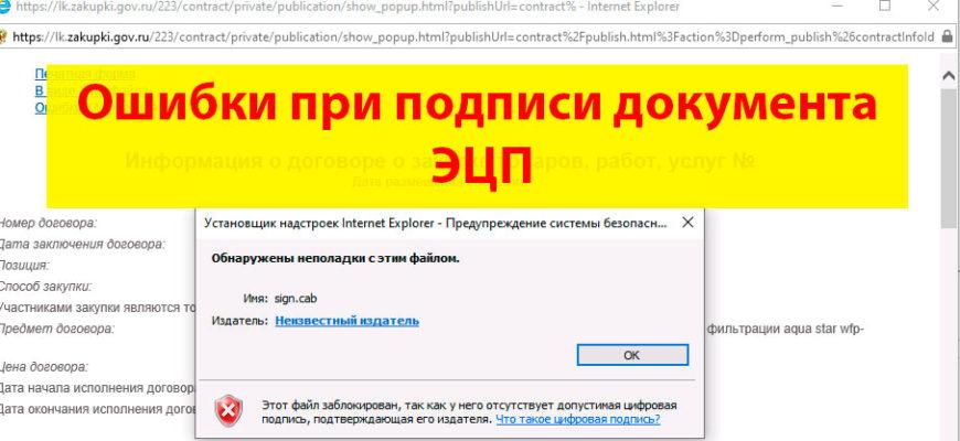 Обнаружены неполадки с этим файлом sign.cab
