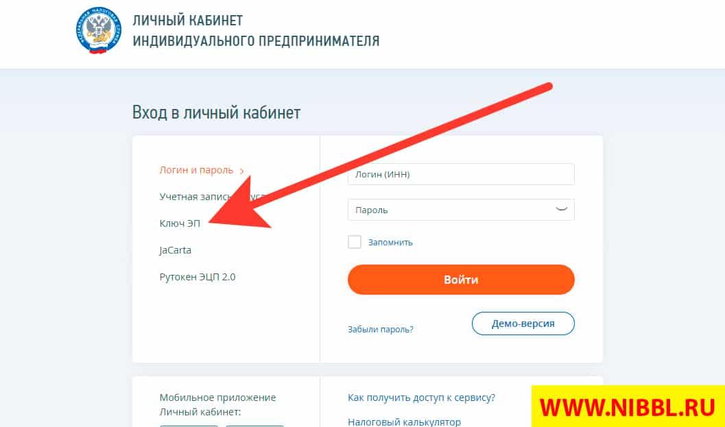 кабинете Nalog.ru авторизацию по ЭП