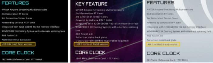 Gigabyte GeForce RTX 3060 идут с ограничителем майнинга