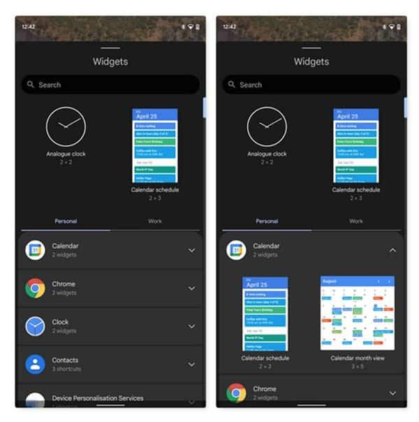 android 12 Обновленная страница виджетов