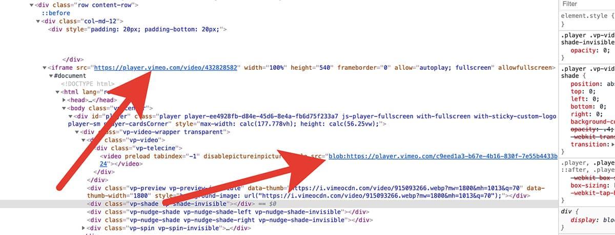 поиск ссылки vimeo через html код